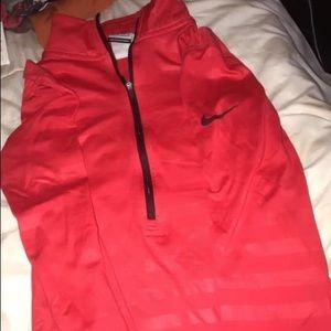 •long sleeve red Nike half zip